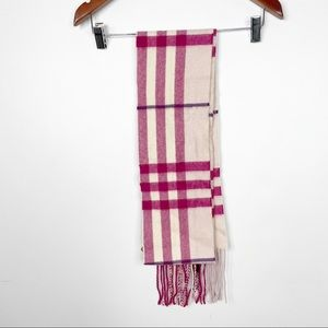 Burberry NWOT Pink and Cream Cashmere Skinny Scarf